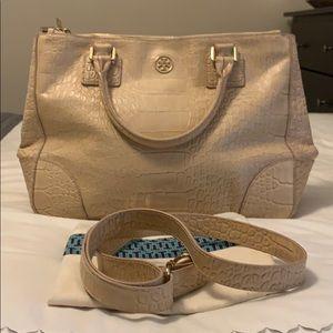 Tory Burch croc embossed double zip tote handbag